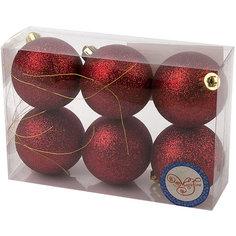 Новогоднее подвесное украшение Шар Блеск красный из полистирола. Набор из 6 шт., 75993 Magic Time