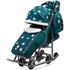 Санки-коляска ABC Academy Pikate Звезды на тёмно-серой раме, аквамарин