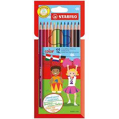 STABILO Набор цветных карандашей 12цв (10+2ФЛУО)