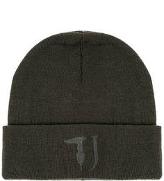 Трикотажная шапка цвета хаки Trussardi Jeans