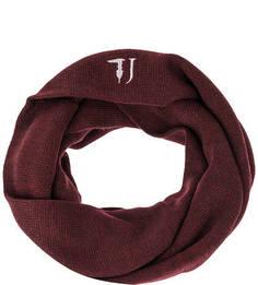 Бордовый шарф-хомут с вышивкой Trussardi Jeans