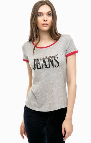 Серая футболка с отделкой стразами