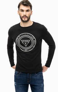 Черная хлопковая футболка с принтом Guess