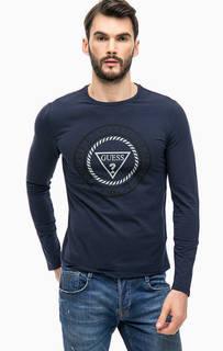 Синяя хлопковая футболка с длинными рукавами Guess