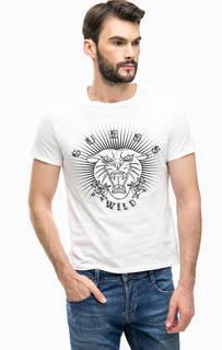 Белая хлопковая футболка с принтом и вышивкой Guess