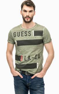 Хлопковая футболка цвета хаки с принтом Guess