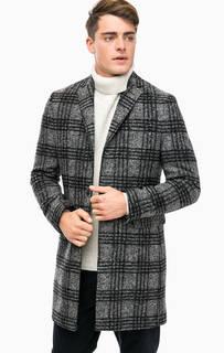 Серое демисезонное пальто в клетку Marc Opolo