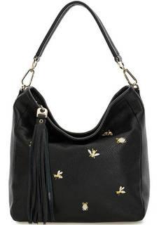 Черная кожаная сумка с вышивкой Curanni