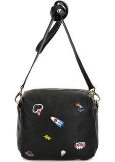 Черная кожаная сумка с декором Curanni