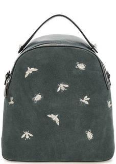 Сумка-рюкзак на молнии из кожи и замши Curanni