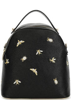 Черная кожаная сумка-рюкзак с вышивкой Curanni
