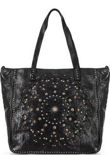 Вместительная кожаная сумка с декором Campomaggi