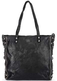Черная кожаная сумка с металлическим декором Campomaggi