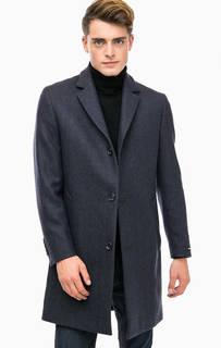 Классическое синее пальто с высоким содержанием шерсти Lagerfeld