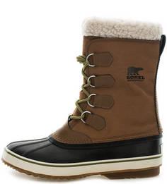Утепленные высокие ботинки из текстиля и резины Sorel