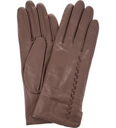 Коричневые кожаные перчатки Eleganzza
