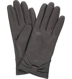 Серые перчатки из натуральной кожи Eleganzza