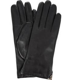 Черные кожаные перчатки с декором Eleganzza