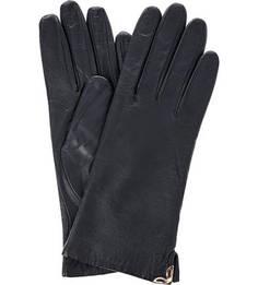 Синие кожаные перчатки с шерстяной подкладкой Eleganzza