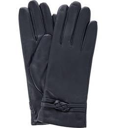 Синие перчатки из натуральной кожи Eleganzza