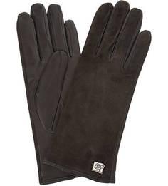 Коричневые перчатки из кожи и замши Eleganzza