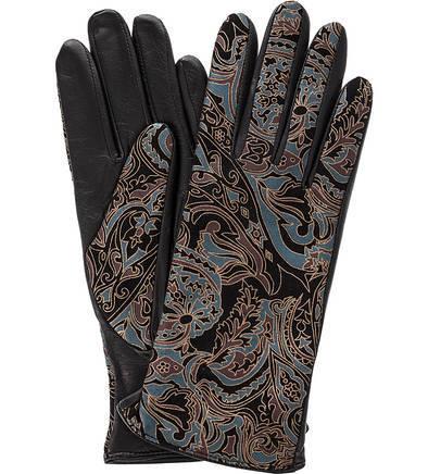 Черные кожаные перчатки с принтом