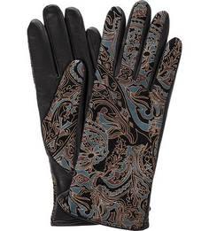 Черные кожаные перчатки с принтом Eleganzza