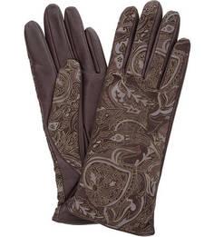 Бордовые кожаные перчатки с принтом Eleganzza