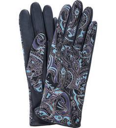 Синие кожаные перчатки с принтом Eleganzza