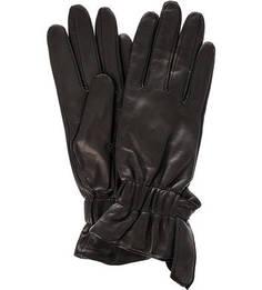 Черные перчатки из натуральной кожи Eleganzza