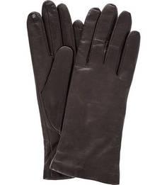 Коричневые перчатки из натуральной кожи Eleganzza