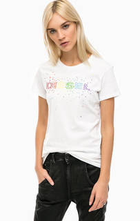 Белая хлопковая футболка с контрастным принтом Diesel