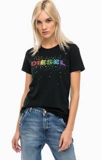 Черная хлопковая футболка с контрастным принтом Diesel