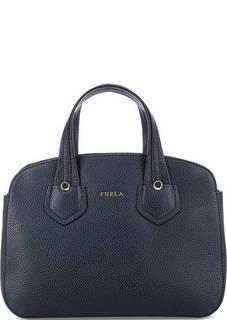 Синяя кожаная сумка со съемным плечевым ремнем Furla