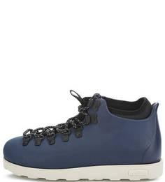Синие ботинки на шнуровке Native