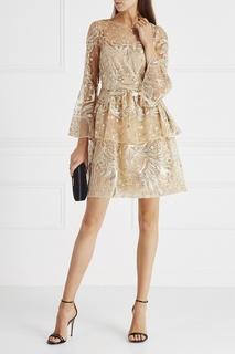 Платье с люреском и пайетками Marchesa Notte