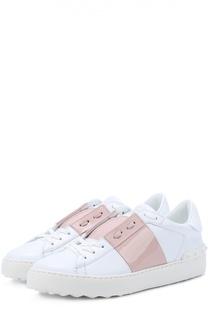 Кожаные кроссовки Open с лаковой цветной вставкой Valentino