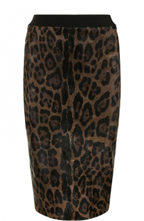 Юбка-карандаш из меха быка с леопардовым принтом Tom Ford