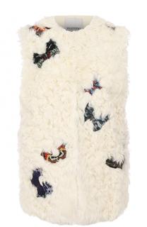 Жилет из меха овчины с нашивками Valentino