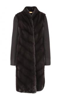 Пальто прямого кроя с отделкой из меха норки Colombo