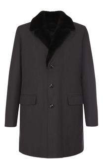 Однобортное пальто с меховой отделкой воротника Kiton