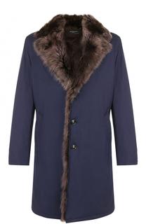 Удлиненной пальто из смеси шерсти и шелка с меховой подкладкой Kiton