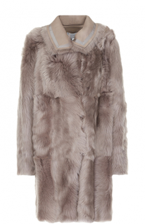 Двустороннее пальто из кожи и меха Escada Sport