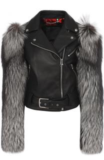 Кожаная куртка с меховой отделкой Philipp Plein