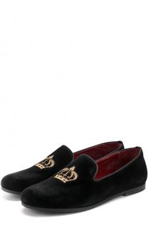 Текстильные лоферы с вышивкой Dolce & Gabbana