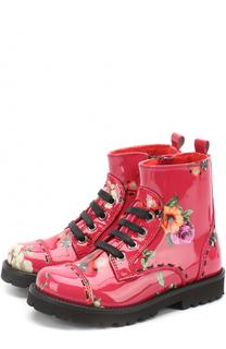 Ботинки из лаковой кожи с принтом Dolce & Gabbana