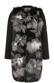 Кашемировое пальто с отделкой из меха лисы Fendi