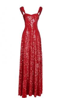 Шелковое платье-макси с пайетками Valentino