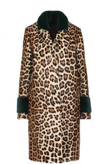 Шуба из меха норки и козлика с леопардовым принтом Simonetta Ravizza