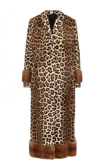 Удлиненная шуба из меха норки и козлика с леопардовым принтом Simonetta Ravizza